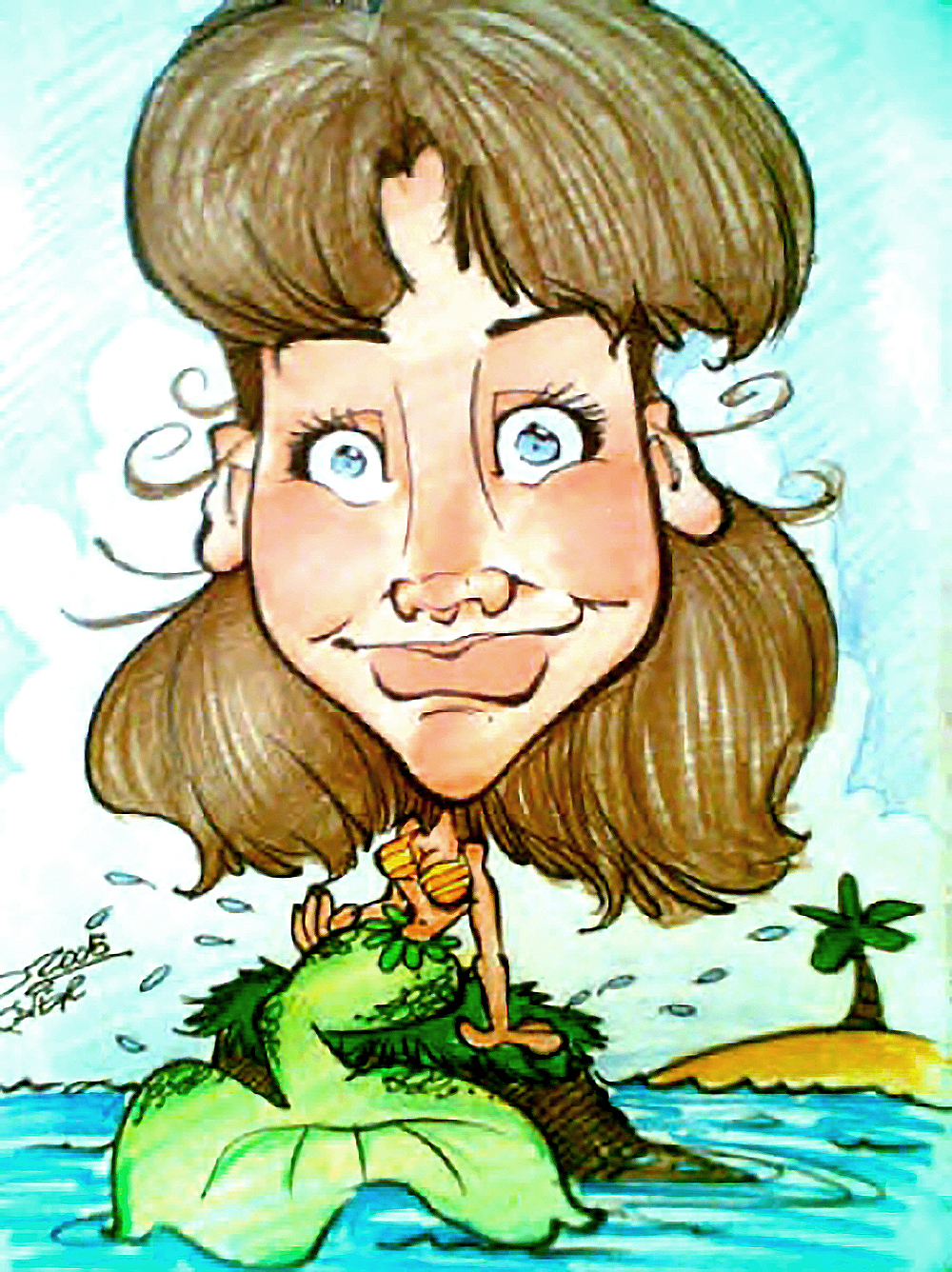Traditional Hand-Drawn Caricature Sample 3