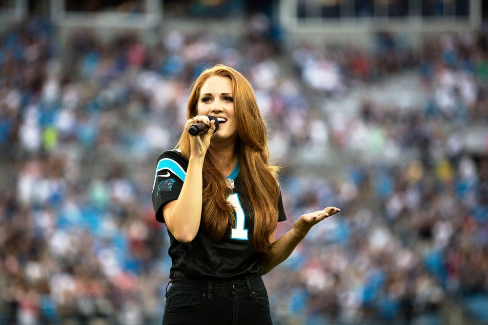 Performing the national anthem for The  Carolina Panthers vs. New England Patriots  game.   August 26th, 2016