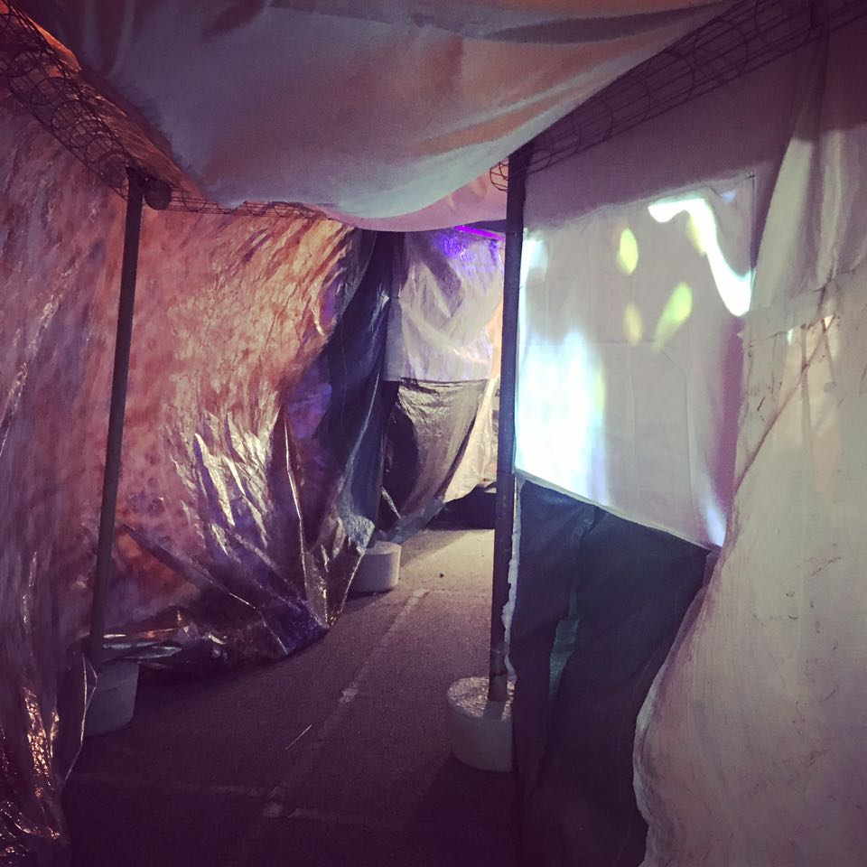 Slushbox , tunnel made from salvaged fabrics, Neil Aldum, Erin Coates and Simone Johnston. Photography: Yvonne Doherty
