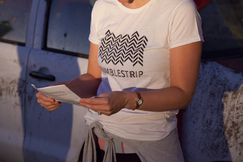Rumblestrip t-shirt, designed by Loren Holmes for the one-night event. Photography: Yvonne Doherty