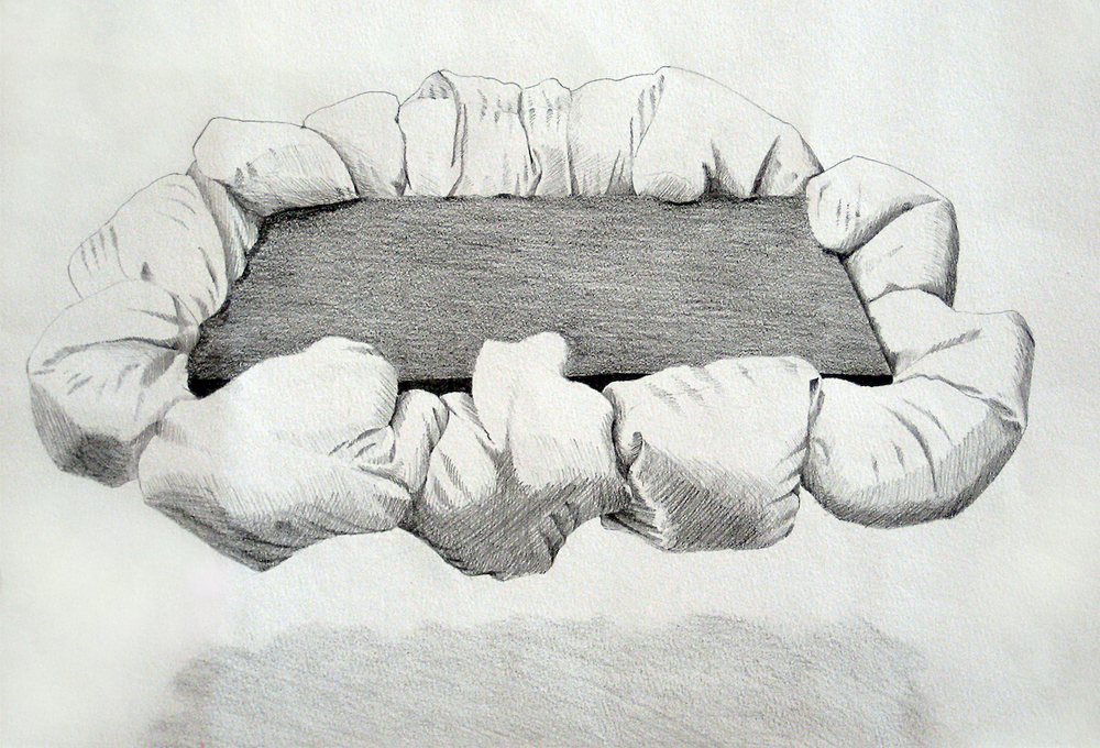 Study for Immoveable Object 2010, pencil on paper, 27 x 39 cm