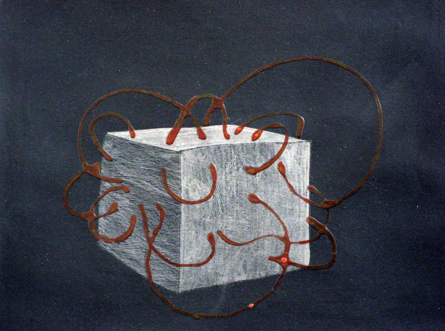 Study for Transfusion, 2010, PVC glue, acrylic and pencil on paper, 20 x 23 cm