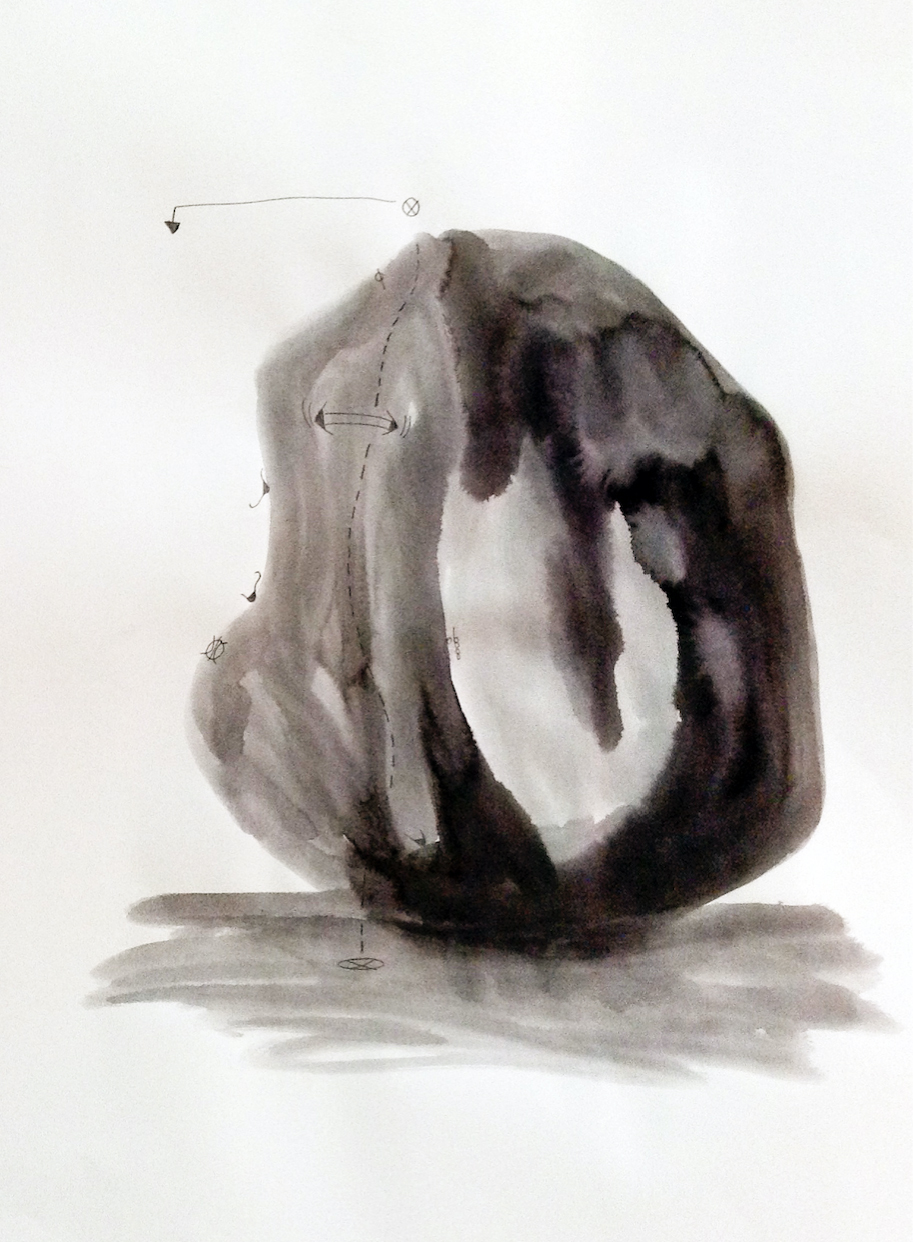The Boulder, 2014, ink and pencil on paper, 43 x 34 cm