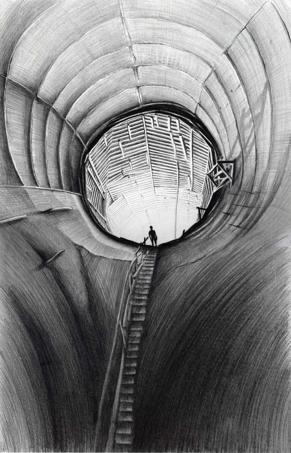 Mining the God particle, pencil on paper, 40 x 26 cm, 2014
