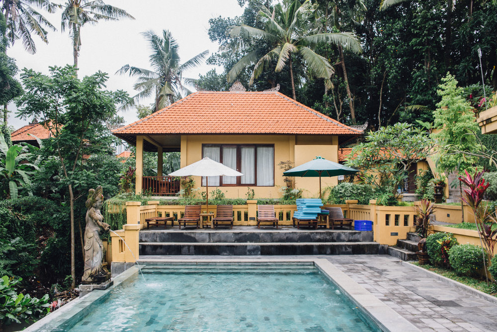 The actual bungalow I stayed in for the last part of my trip to Bali. The hotel is called Sri Bungalows and is located just a short walk from the famous monkey forest in Ubud.