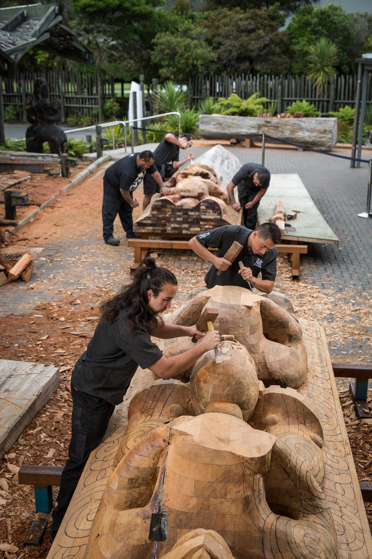 Maori Wood Caraving School at Te Puia