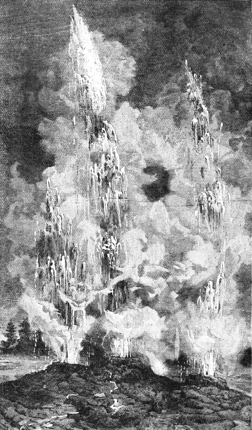Fig. 6.—Eruption of the Union Geyser in the Yellowstone National Park, August, 1878.