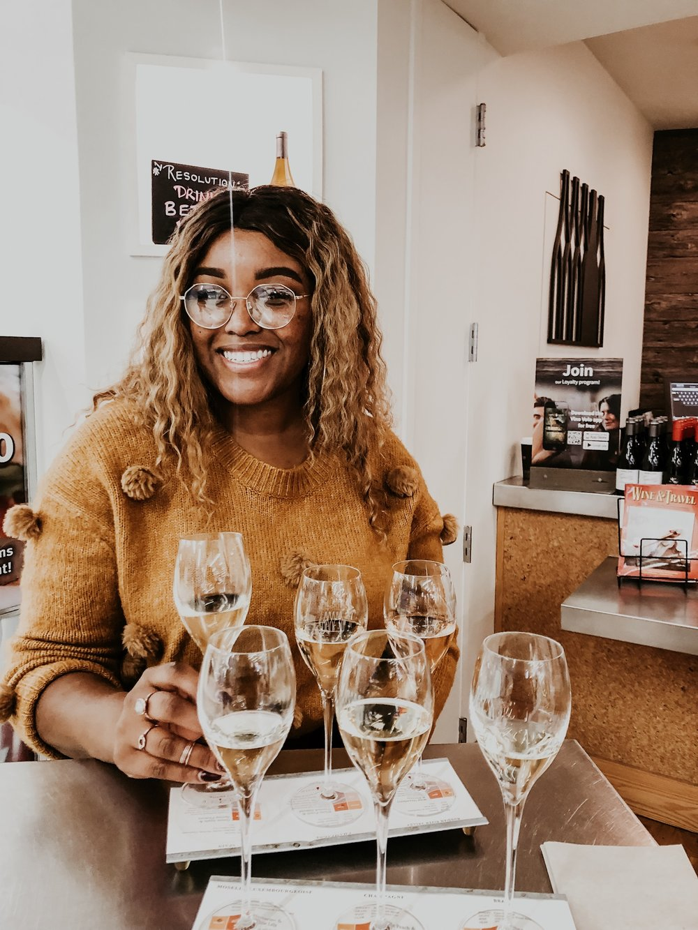 We made sure we got to the airport early enough to get those Pre-flight Flights! At SFO, before your flight you can do a little Champagne/ Sparkling tasting to help calm your pre-flight jitters.