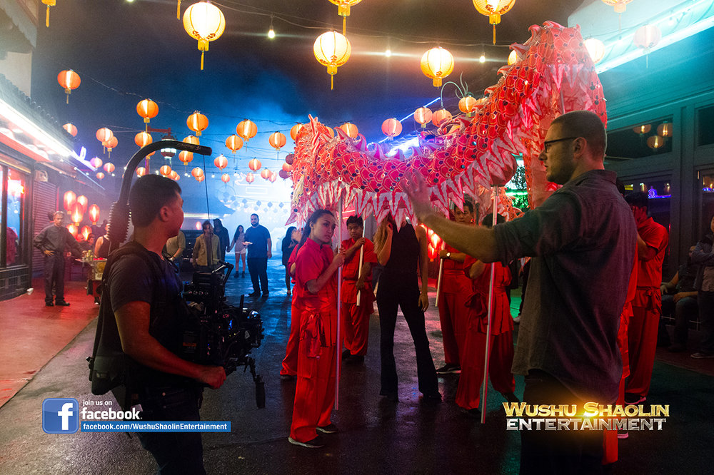 Director Mark Staubach on set of the Karma Music Video with the Wushu Shaolin Entertainment Dragon Dance Team.