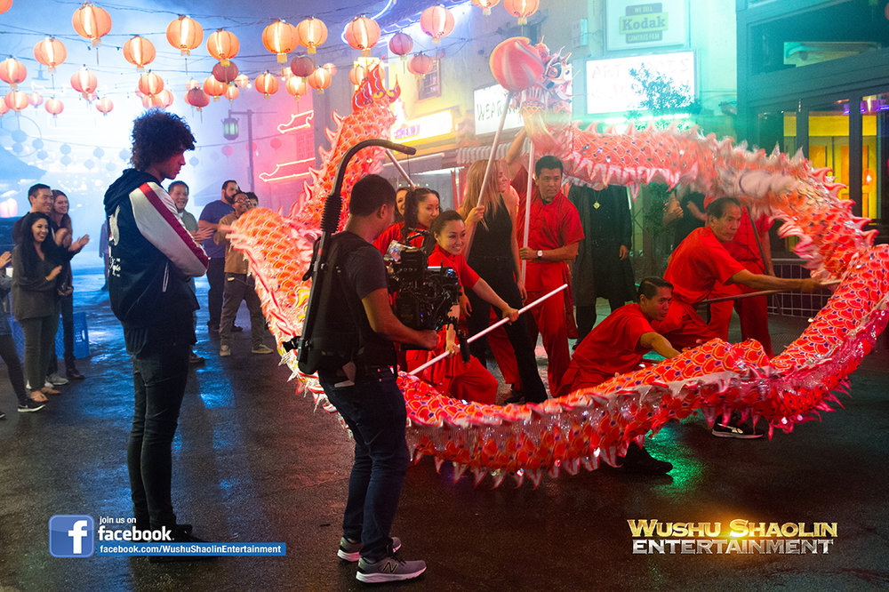 the Wushu Shaolin Entertainment Dragon Dance Team on set of the new music video entitled Karma by Julian Perretta.