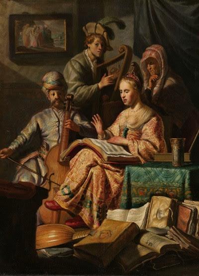Musicerend gezelschap, Rembrandt van Rijn, 1626 (olieverf op paneel, h 63,5cm × b 48cm)
