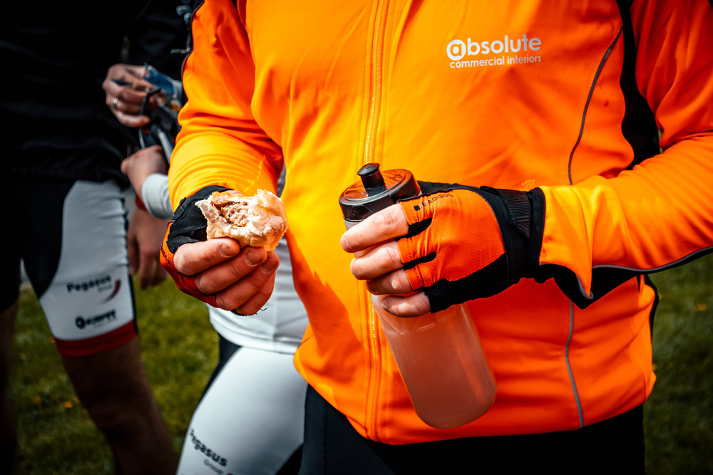 Tom refuels at the feeding station with an  Appleton's Butchers  Pork pie!