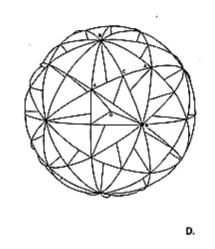 Fig. 986.502D Thirty Great-circles of the icosahedral symmerty group in realtion to the divison of the Rhombic Triacontahedron