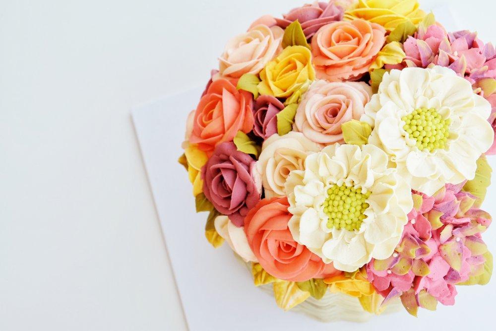 Detail of Buttercream Flower Basket