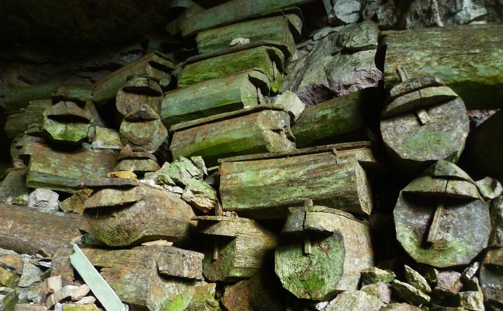 Piles of stone coffins at the entrance to one of Sagada's many caves...