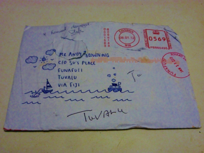 Bruised and battered, our superhero letter makes it to Tuvalu (hooray!)...