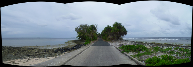 Tuvalu Road in all its glory - Lagoon to the left, Pacific Ocean to the right...