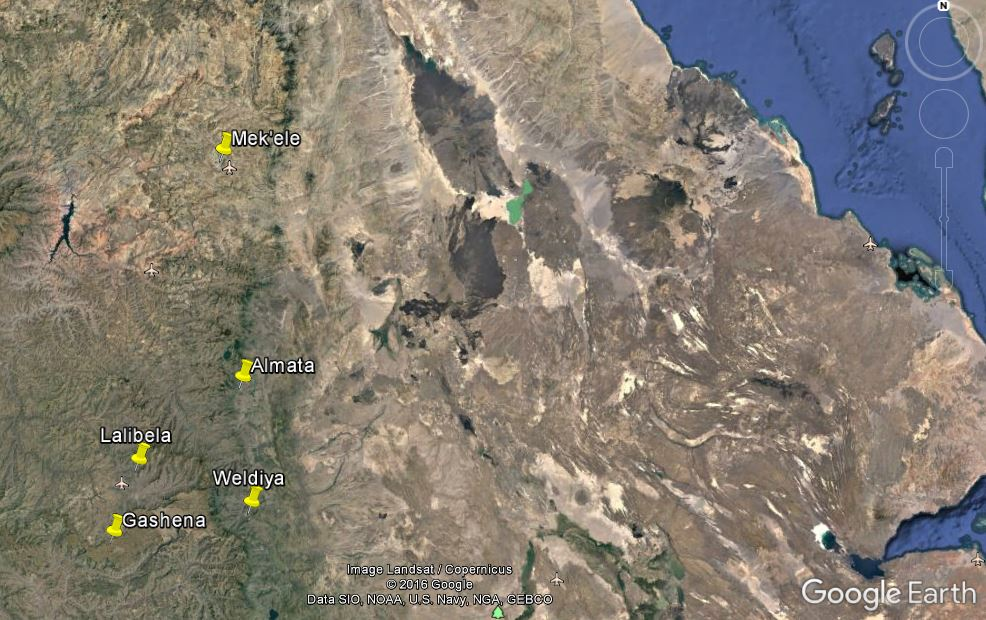 Notice the two little airports showing the 'traditional' way to get from Lalibela to Mek'ele...