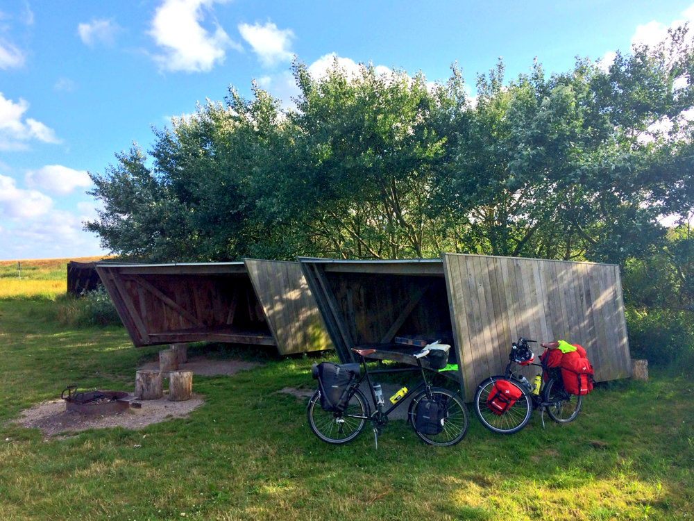 These amazing wind shelters can be found all over Denmark, and made for perfect accommodation whilst cycling…