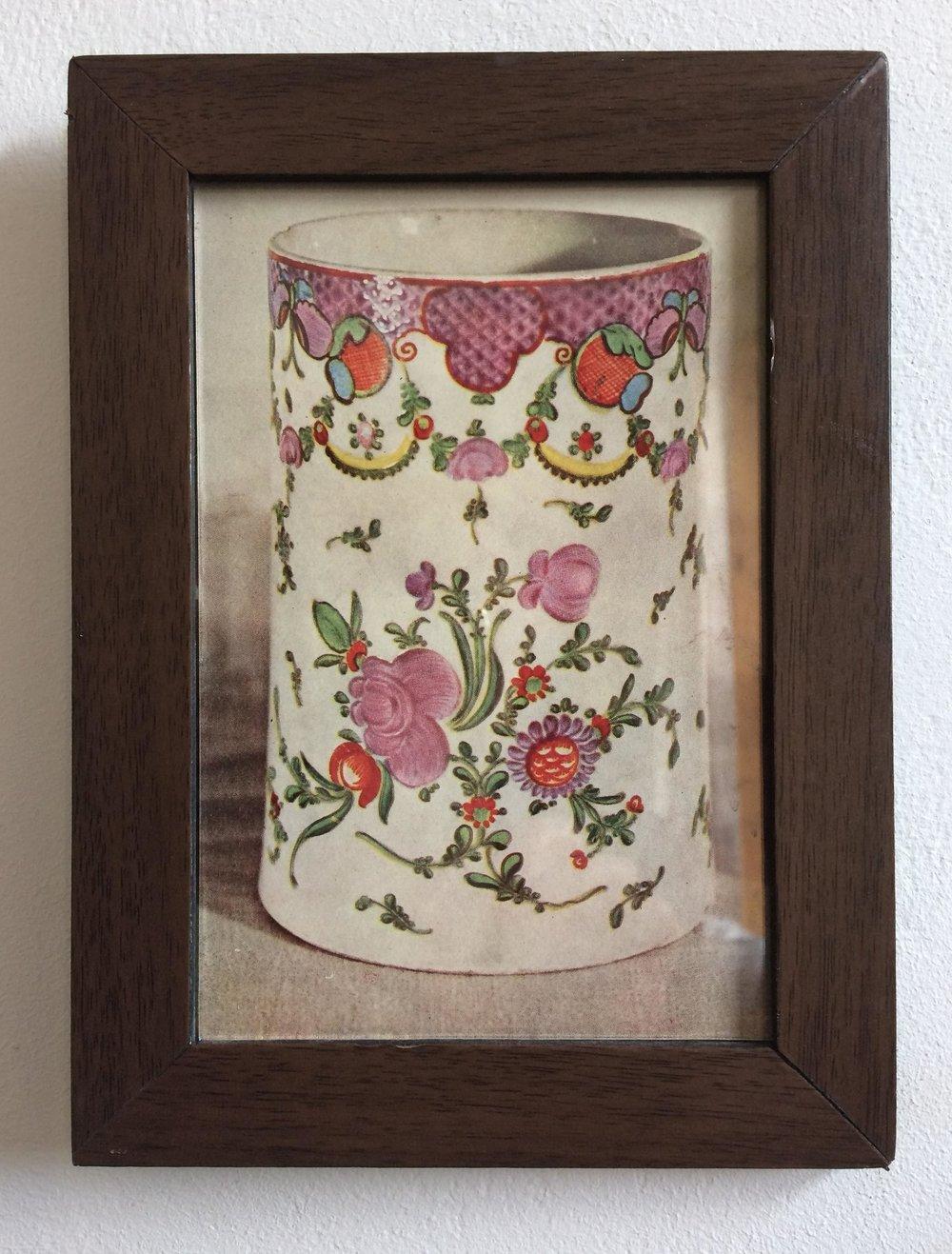 Staffordshire pottery vase - framed photograph .