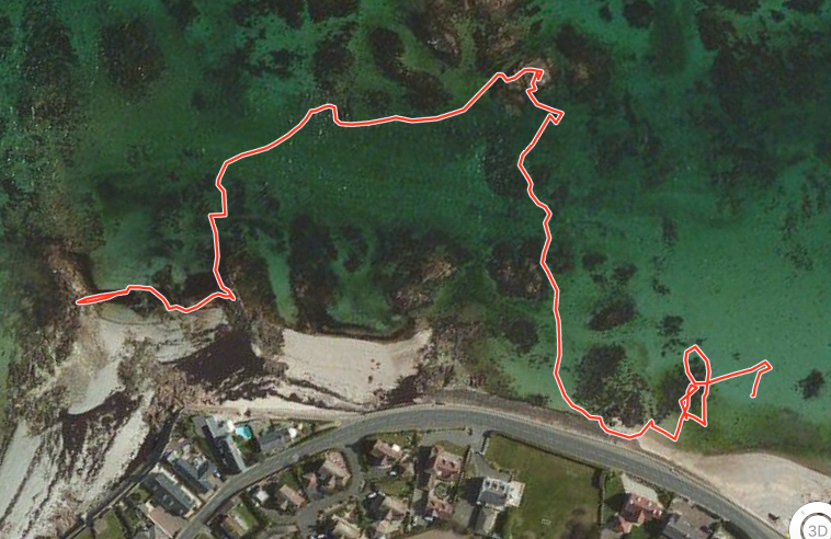 Highpoints on Gorey Beach, Jersey mapped with a GPS tracker before the tide came in.