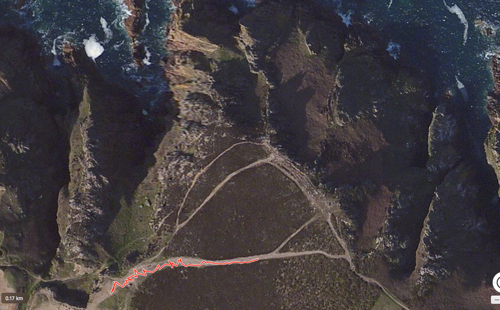 'Horizon' written with a GPS tracker on Groznez cliffs, Jersey.