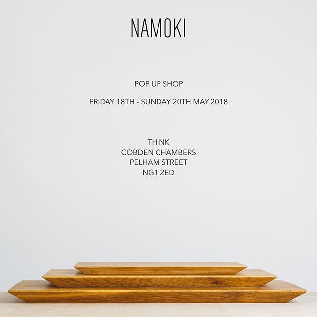 Next NAMOKI pop up for your diaries! I'll be at @thinkin_ng in @cobdenchambers from Friday 18th to Sunday 20th May. Grab yourself a tasty brunch from @kioskatthink and browse some lovely homewares. Looking forward to seeing you all there 🌻