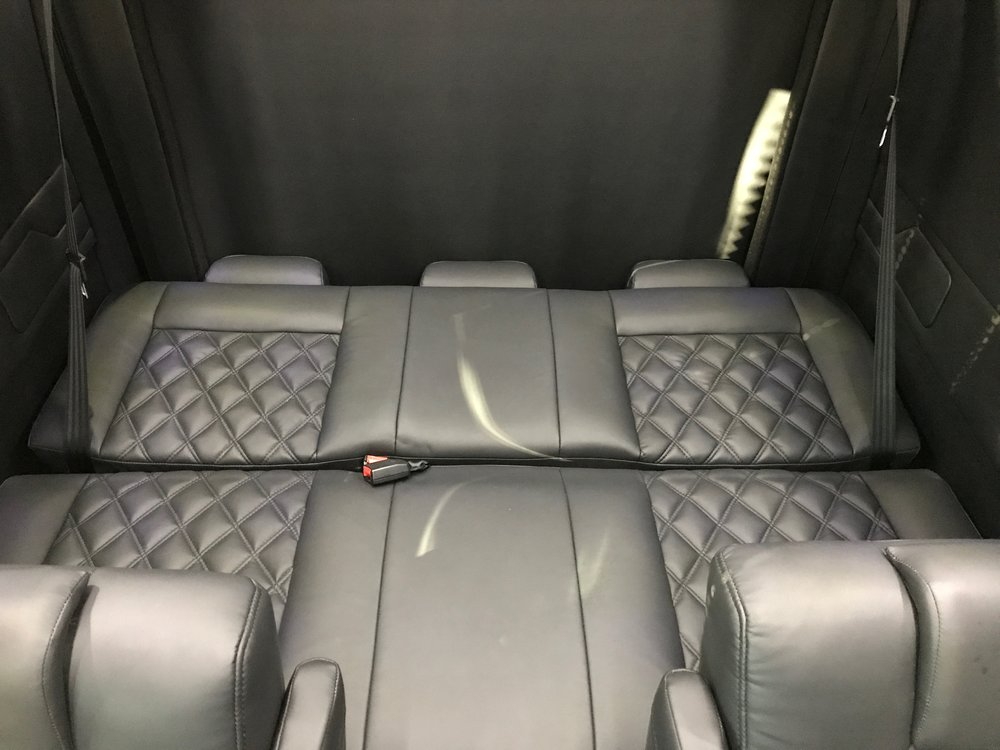 Rear seat folds to bed