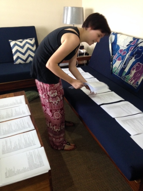 Maggie getting her scripts ready to assemble for practice