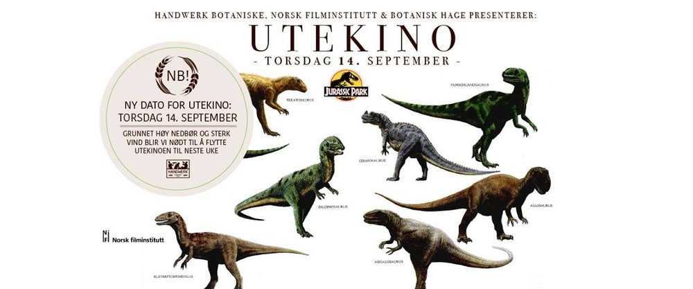 Outdoor Cinema: Jurassic Park in The Botanical Garden at Tøyen hovedgård - September 8th9.00pm - 11pm@Sars gate 1