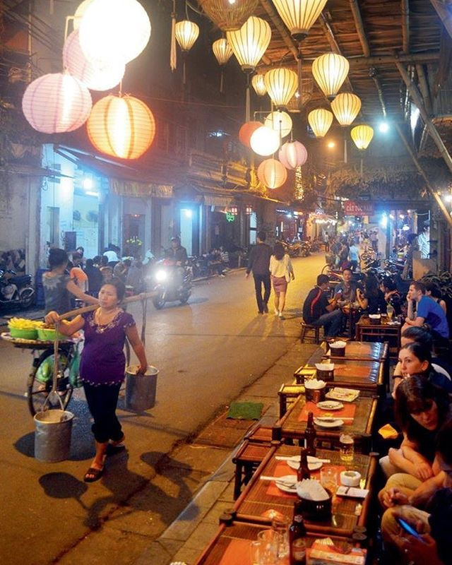 Lively street in Vietnam with side street restaurants and beautiful lanterns. Have a happy Sunday everyone!! #vietnam #beautiful #travel #food