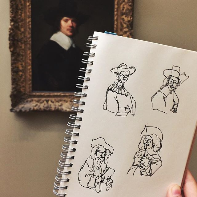 Passing the time with some quick sketches of white men in hats while @marchelle.jpg does her art hum paper