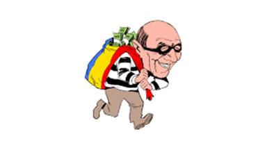 cartoon of a thief stealing a bag of money