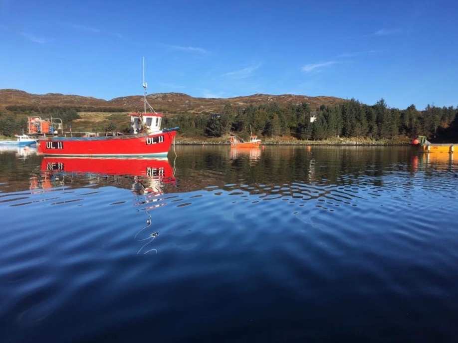 On the water: Badcall Bay, a natural harbour used by local fishermen.