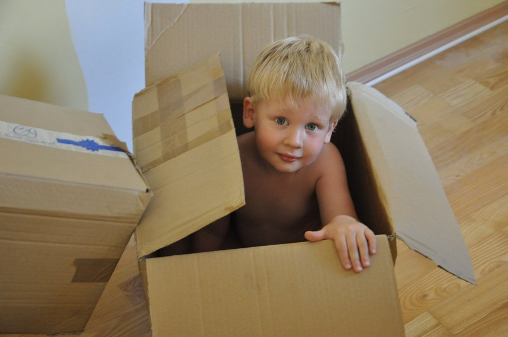 Kids help out during move