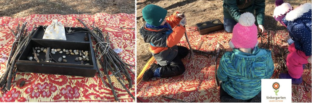 There was a bundle of sticks for each child to explore separately yet they chose to build something together (that's the fun part of Tinkergarten, you never know where the play will lead!)