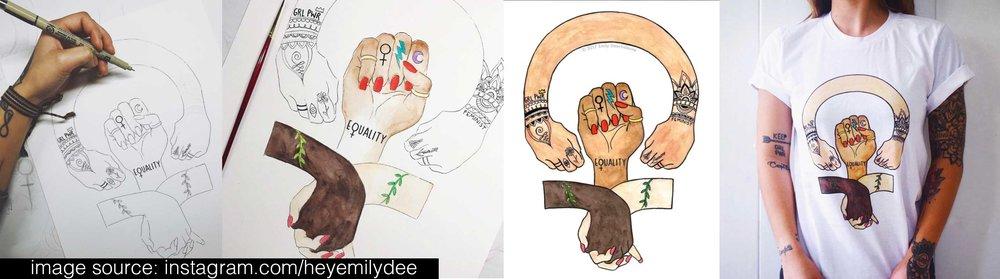 Check out Emily Deechaleune, her art inspires girl power, world peace, inner peace and love for all. >> Her instagram!