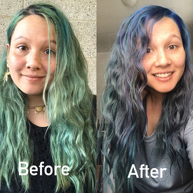 The best thing about having #bluehair is the natural evolution that starts taking place. I've never been so in love with the look of my hair before getting it painted blue in December. As you can see in the pics by January the bright blue was fading to green blue, and by Valentine's Day my locks were straight up green! It's been an awesome reminder that nothing stays the same.. to always embrace change, big or small, to appreciate every subtlety and to love every part of me whether it's my body my mind or my hair. This transformation has meant so much more to me than meets the eye. It's crazy how something seemingly simple like dying your hair can have such a profound spiritual, personal impact on your life. How you perceive life, how you live life. I did this because I wanted to reflect how I felt inside. I feel color! I feel artistry! I feel alive! I decided I wanted to show up differently in the world.. so that walking down the street you saw me. No more hiding or fearing myself away from who I really was. This is me and I'm here, and you know I think you're awesome right? That's what my blue hair means to me. My favorite thing about seeing @hmcolorrouge from now on will be not just the vibrant new colors she paints me with each time, but will be the reflection I gain from the previous weeks.. as I slowly watch my colors shape and shift over time. 💙💚💜 . . . #liveonpurpose #loveyourself #beforeandafter #artisthair #bluehairdontcare #greenhair #mermaidhair #hairevolution #transformation