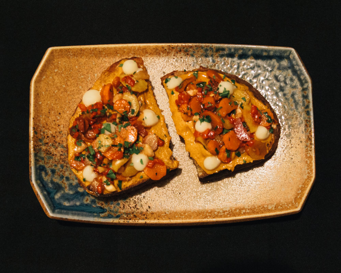 Romesco toast from Avant Garden