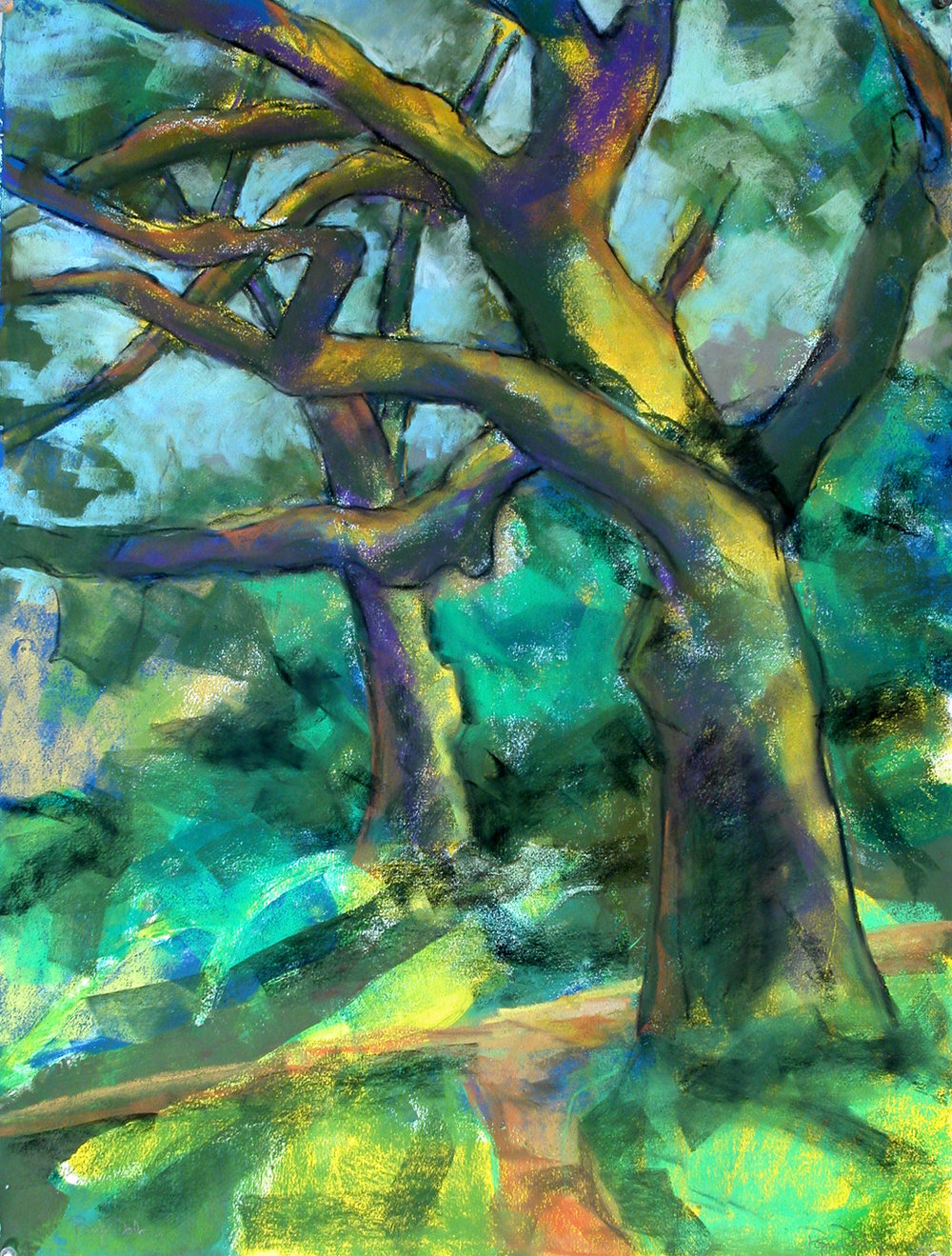 Big Oak, Calistoga, monotype with pastel handcoloring.