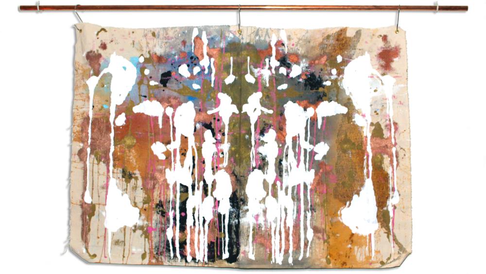 "AMENDS I WANT    •  24""X36"". acrylic paint, pen & ink on unprimed canvas"