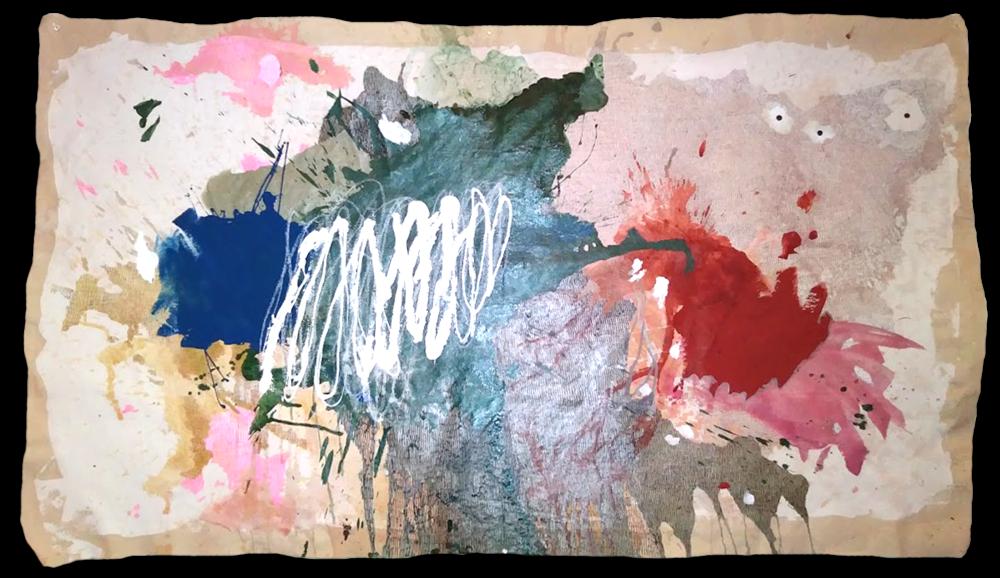 "TRAUMA FOR SALE    •  60""X48"". acrylic paint, pen & ink on unprimed canvas"