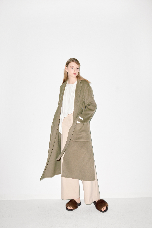 HC03. Light brown handmade coat, B02. Ivory frilly blouse
