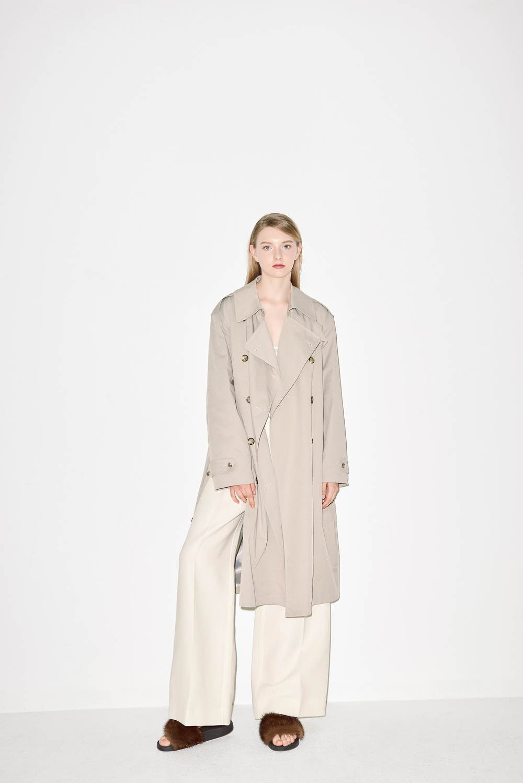 TC01. Light beige trench coat, TB01. White silk top blouse