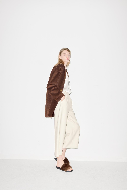 J01. Brown suede jacket, HP02. Ivory handmade pants