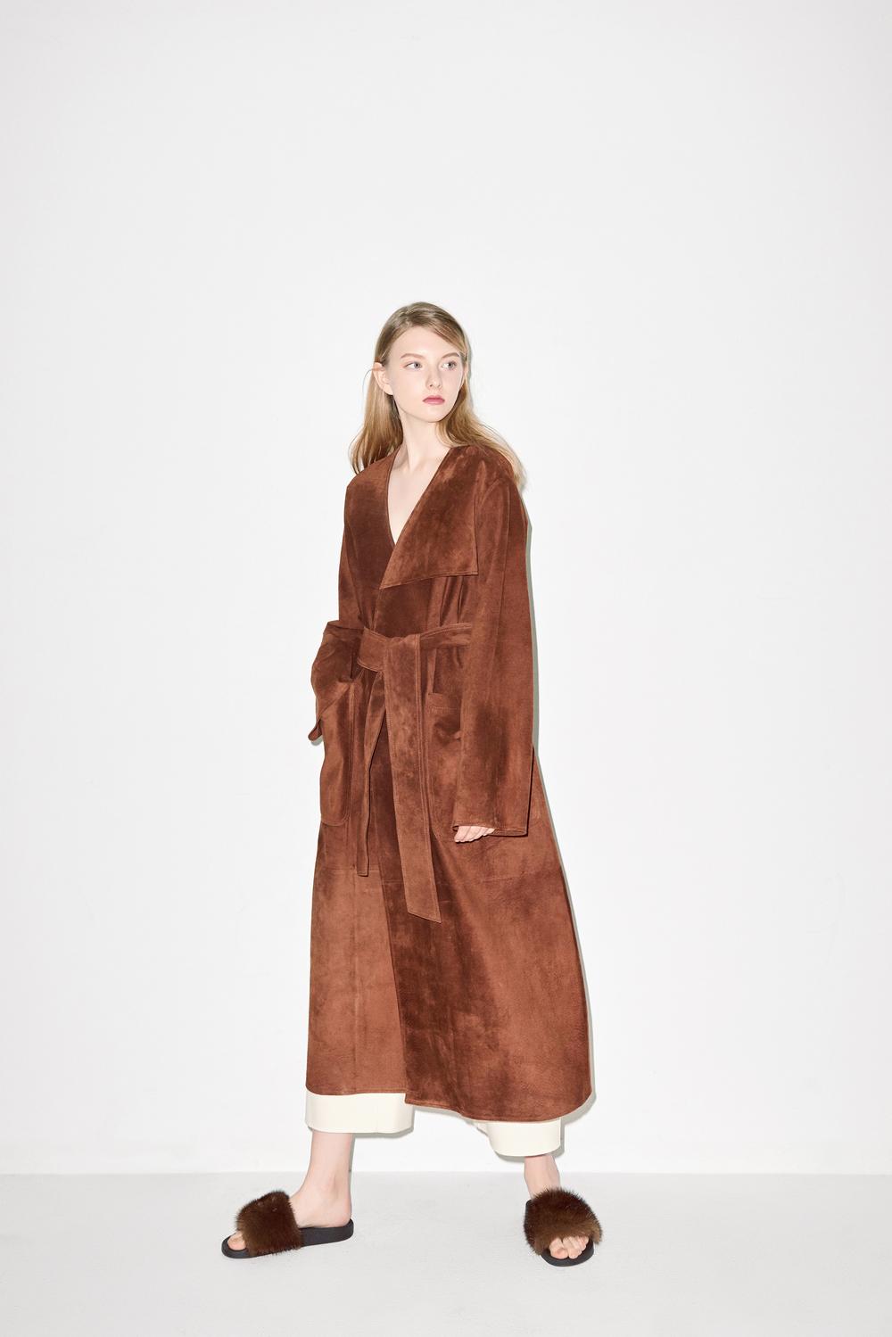 C01. Brown suede coat