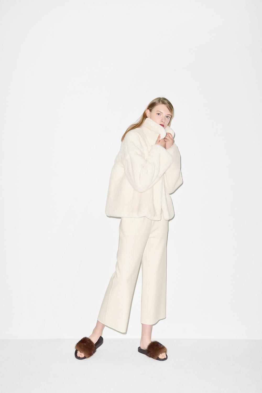 FC01. Ivory fur half coat