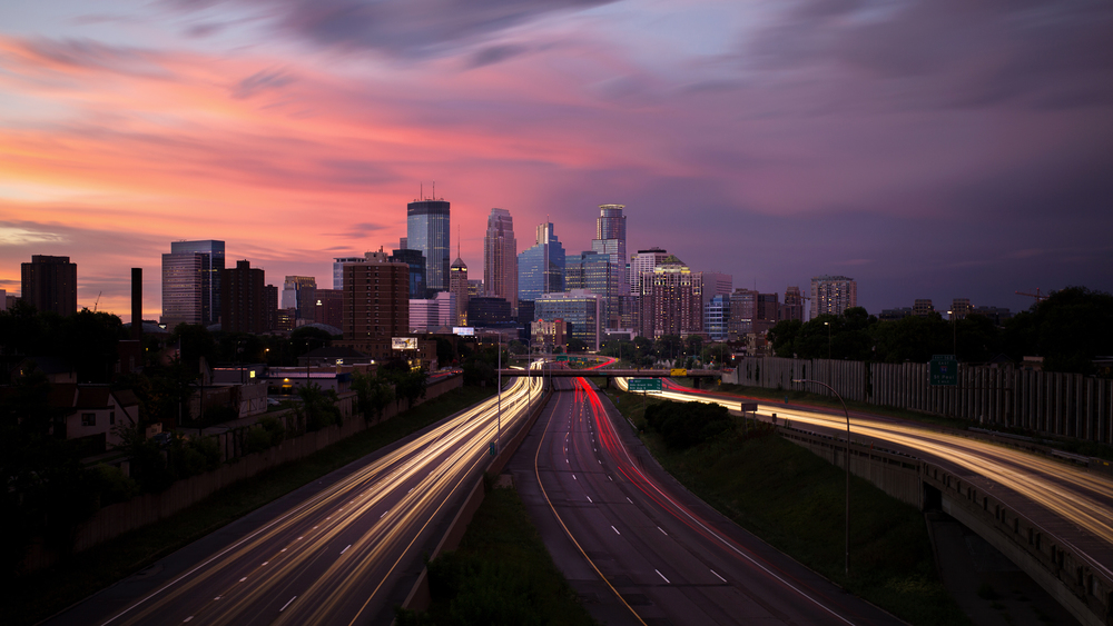 Photo taken of the Minneapolis Skyline from the long exposure above