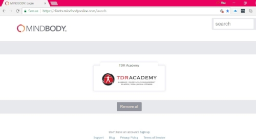 Mindbody home screen for TDR Academy.jpg