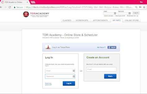 Mindbody login screen for TDR Academy.jpg